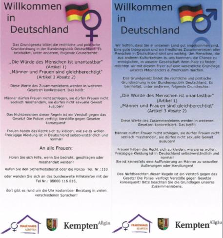 Flyer für Flüchtlinge in sechs Sprachen